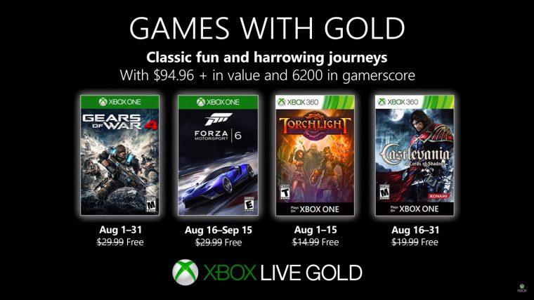 Xbox | Games with Gold de agosto terá Gears of War 4 e Forza Motorsport 6